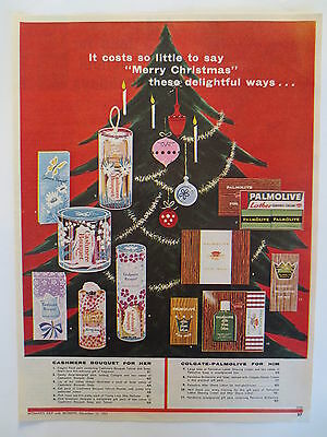 Vintage advertising original 1963 print ad CASHMERE BOUQUET christmas palmolive