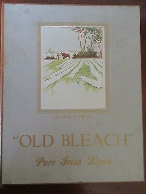 """""""OLD BLEACH"""" Bleached Pure Irish Linen Boxed set of 2 hand towels with E initial"""