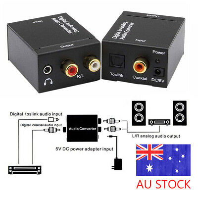 3.5mm Digital Optical Toslink SPDIF Coax to Analog L/R RCA Audio Converter