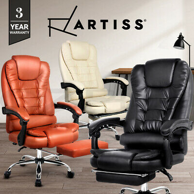 Executive Office Computer Chair Recliner Work Seat PU Leather Footrest 4 Colours