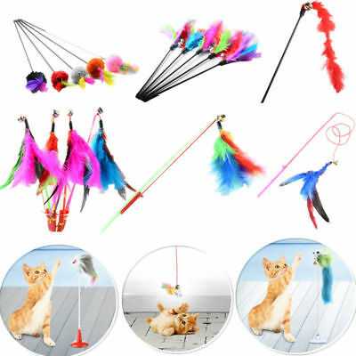Pet Kitten Interactive Fun Toy Cat Teaser Turkey Feather Wire Chaser Wand +Bell