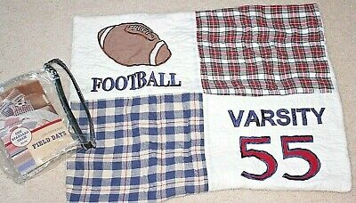 New FIELD DAYS Quilted Standard Pillow Sham Embroidery Applique Football Varsity