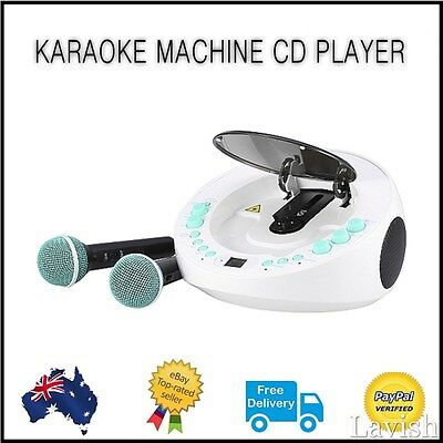 KARAOKE Machine CD Player 2x Microphones AUX-In iPhone iPad Party LED Blue White