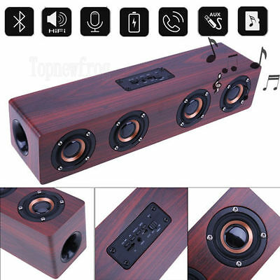 Wood Bluetooth Speaker Wireless Stereo Super Bass Double Speakers FM TF AU Mic