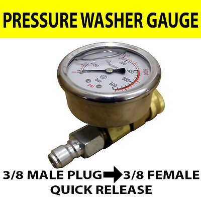 Pressure washer GAUGE ( rated up to 600 BAR)  with 3/8 Quick Release connectors