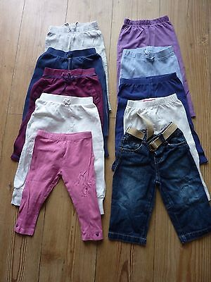 Baby Girls x10 Pairs Bundle Leggings Trousers Joggers Bottoms 9-12 Months Used