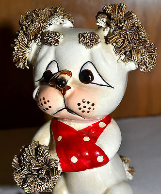 Vintage Lefton Spaghetti Poodle Dog, Leg In Sling, Looking At Fly On Nose Figure
