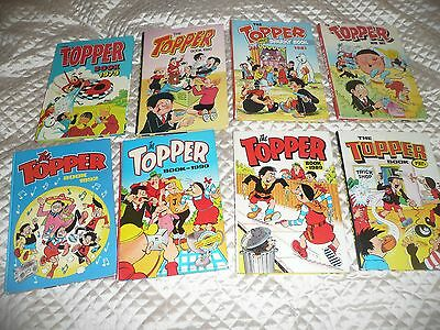 collection of 8 early TOPPER annuals 1979 to 1990s