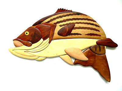 Striped Bass Fish Fishing Intarsia Wood Wall Art Home Decor Plaque Lodge New