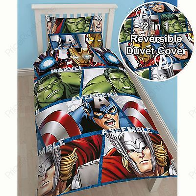 Marvel Avengers Shield Single Duvet Cover Set Reversible Thor Iron Man Hulk New