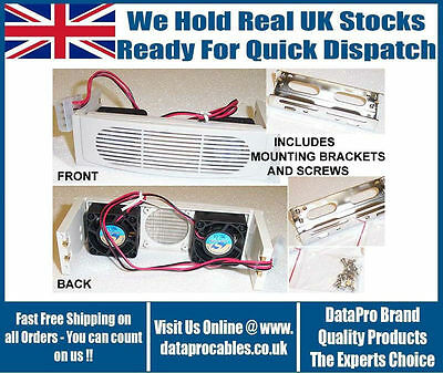 "New 5.25"" Fitting Cooler Kit For Hard Drives + Facia White Twin Fan Free Uk Post"