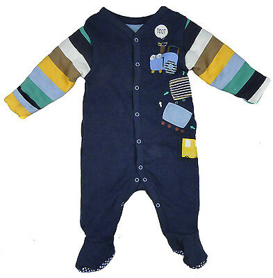 Baby Boys Wadded Sleepsuit All One Romper Ex Mother And Baby Store NB TO 24-36M