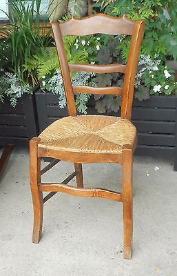 Antique Country French Style Pine Wood Chair with Rush Seat Phila PA