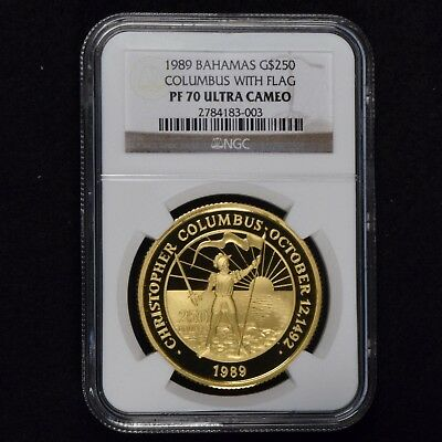 1989 Bahamas $250 Gold Columbus With Flag Ngc Pf 70 Ultra Cam Pop 1 Low Mintage