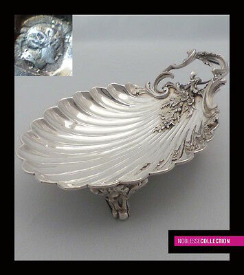 LUXURIOUS ANTIQUE 1880s FRENCH STERLING SILVER COMPOTE SERVING TRAY SHELL ROCOCO