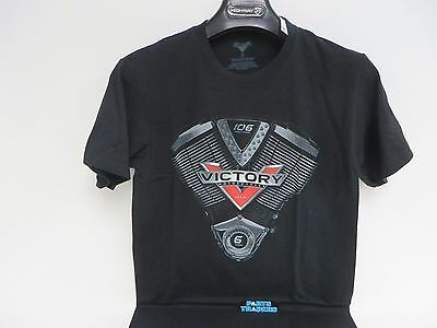 Victory Motorcycles USA Men's Black 106 Engine Logo T Shirt Size L Large Lg