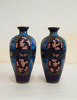 Beautiful Old Antique Japanese Pair of Cloisonne Vases w/ Butterflies #3 NO RES.