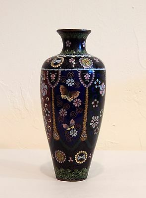 Beautiful Old Antique Japanese Cloisonne Vases w/ Butterflies & Flowers NO RES.