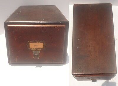 Antique Wood Library Card File Drawer vintage wooden drawer Old Imperial