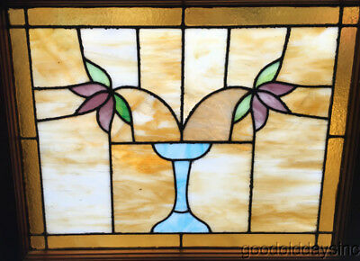 """Classic Chicago Bungalow Stained Leaded Glass Window 2 Flowers w/ Vase 30"""" 25"""""""