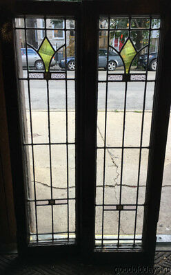 "Antique 1920's Stained Leaded Glass Doors / Window 43"" by 13"""
