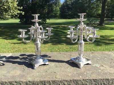 Antique Pair Of Tiffany & Co. Silver Plate Candelabras Circa 1902-1907 ~Stunning