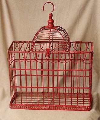 "Vintage Decorative Med. Size Red Wire Metal Bird Cage  Size: 16"" T & 14 1/2"" W"