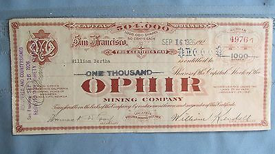 Virginia City Nevada Ophir Mining Company Stock Certificate-Signed-Issued-Tagged