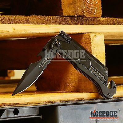 "8.75"" TACTICAL MULTI-FUNCTIONAL BLACK Spring Assist Pocket Knife Outdoor Rescue"