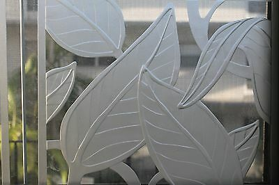 Set 4 Art Deco Thick Artisan Cut Glass/ Frosted Cut - Foliage Thick Panels