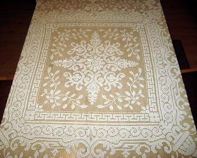 Antique Vintage Lace Quaker Ornate Rectangular 64 x 58 Lightweight Tablecloth