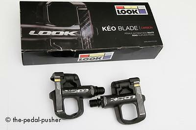 LOOK KEO Blade Carbon Black Clipless Road Bike Pedals-Tri Cycling Red+Cleats x2
