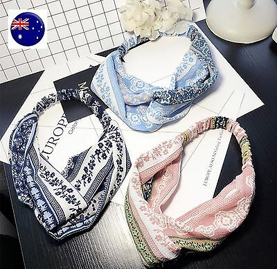 Women Retro Vintage look Boho bohemian floral Cross scarf Hair head band bandana