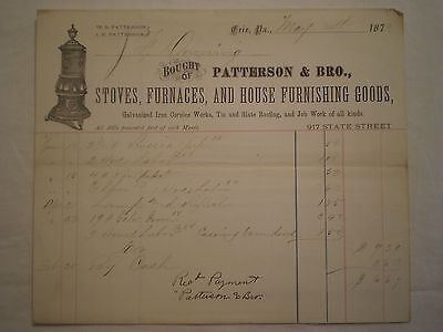 Antique 1873 Erie Pa Patterson Bros Stoves Furnances & Iron Works Billhead