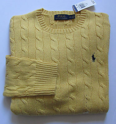 Polo Ralph Lauren Men's Cotton Cable Knit Crew Neck Sweater NWT $89 Yellow M-XL