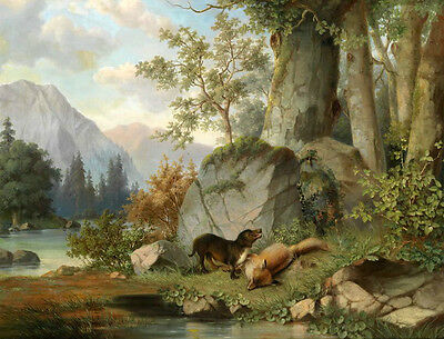 Charming oil painting hound dog with prey dead fox by the stream Hand painted