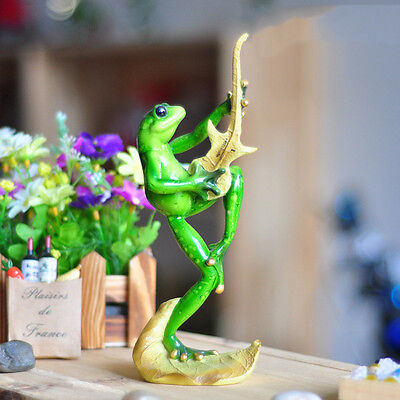 "Novelty Frog Figurines-""Frog Rock And Roll Guitar Playing""Resin Sculpture Decor"