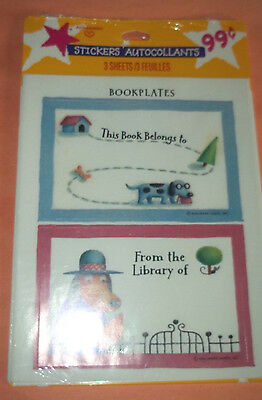 Bookplate Stickers - Package of 6 Sticker Bookplates, 3 each of 2 Designs - NIP