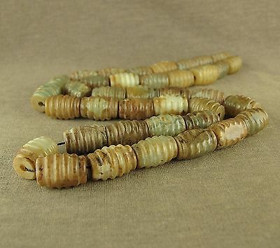 "24"" Stunning With Carved Old Chinese Antique Jade Spiral Beads Necklace"