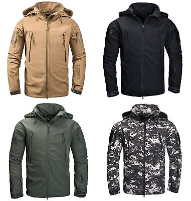 Mens Military Tactical Soft shell Jacket Outdoor Camping Waterproof Hoodie