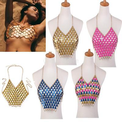 Bohemian Tassel Alloy Body Chain Vest Necklace Sequins Summer Waist Lady Club