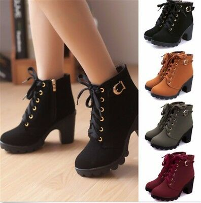 Womens High Heel Lace Up Ankle Boots Ladies Zipper Buckle Platform Shoes BG