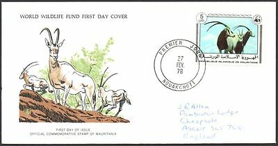 FDC, Mauritania, 1978 World Wildlife Fund, Scimitar-horned Oryx First Day Cover