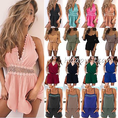 Womens Holiday Strap Mini Playsuit Ladies Summer Shorts Jumpsuit Beach Dress