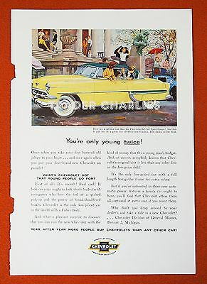 VTG 50s Orig Magazine Car Ad Chevy Chevrolet Bel Air Sports Coupe, (C18)