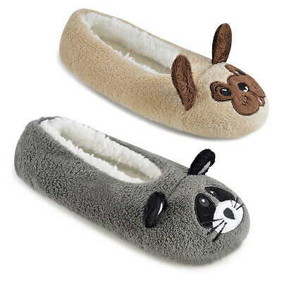 Ladies Novelty Design Animal Pug and Raccoon Ballet Slippers