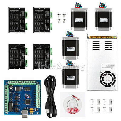 US Ship CNC 4-Axis Kit with TB6600 Motor Driver, USB Breakout Board Nema23 Motor