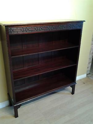 Edwardian mahogany Chinese Chippendale style carved bookcase