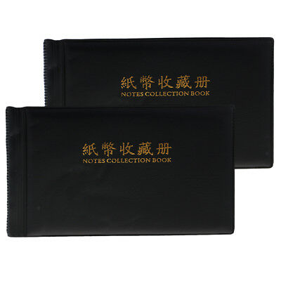 2Pcs Black Paper Money Currency Collection Album Banknotes Holders Xmas Gift