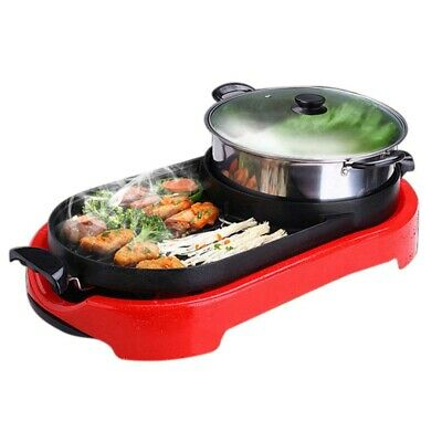 2 in 1 Electronic Grill Teppanyaki Steamboat Soup Maker Stainless Steel Hot Pot